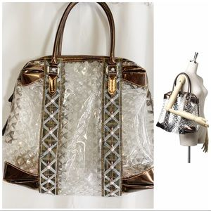 Fendi Gologo transparent brown beaded tote bag